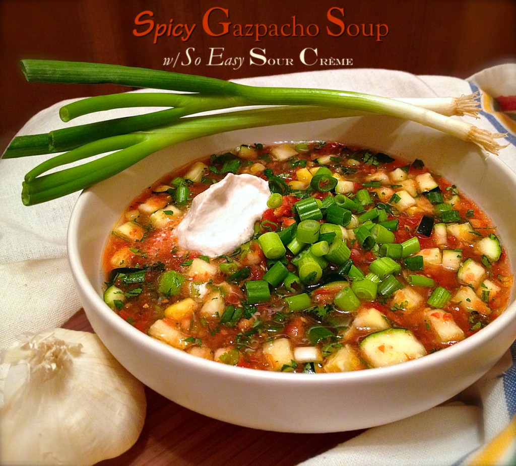 Spicy Gazpacho Soup with So Easy Sour Crème