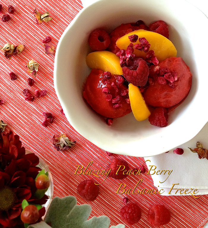 Blazing Peach Berry Balsamic Freeze - raw vegan