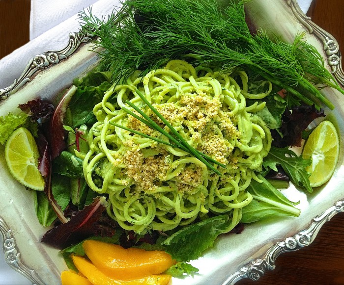 "Cucumber Pasta with Creamy Kale Sauce and Parmesan ""Cheese"" - raw vegan"