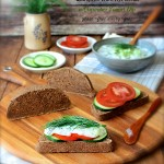 European Dark Rye Bread with Cucumber Yogurt Dip
