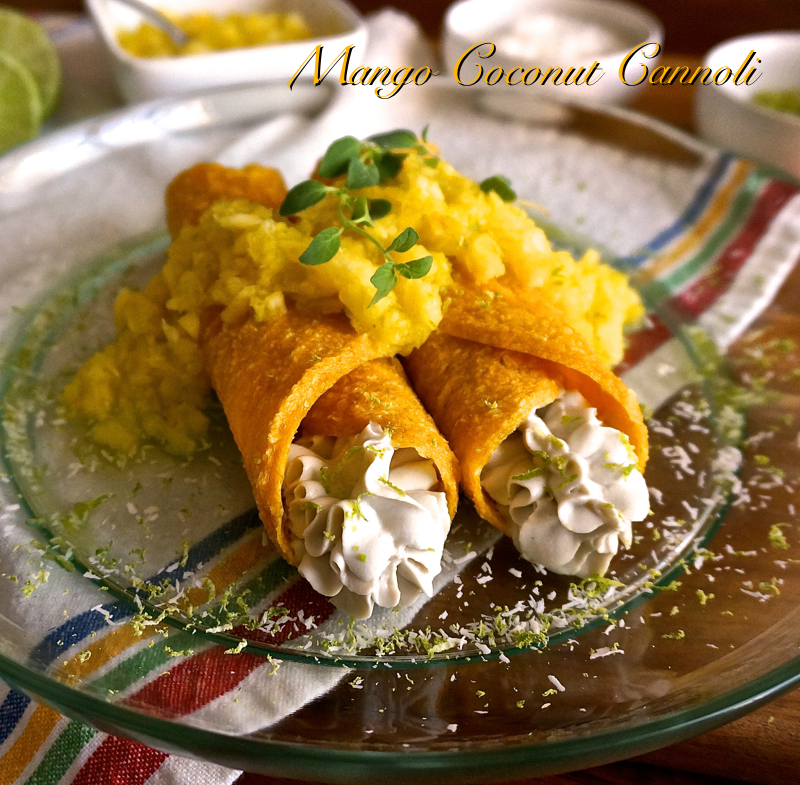 Mango Coconut Cannoli with Lemon Ginger Crème and Crushed Pineapple- raw vegan