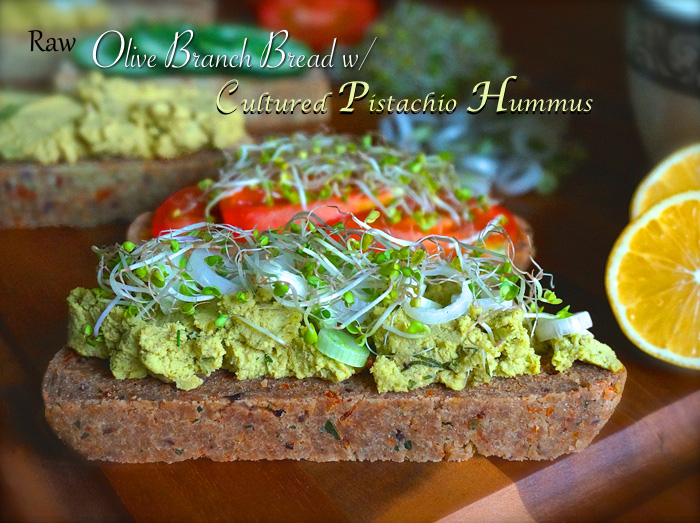 Olive Branch Bread with Cultured Pistachio Hummus - raw vegan