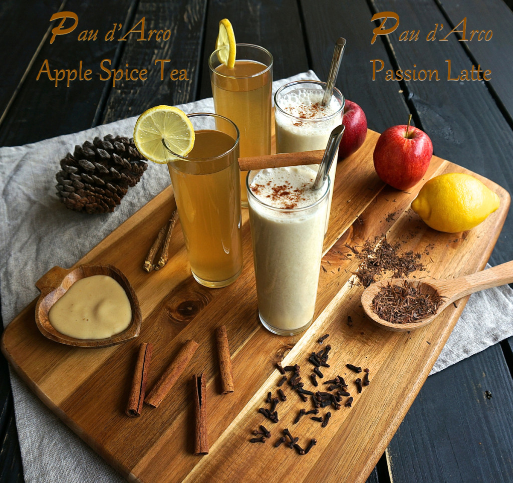 Pau d'Arco Apple Spice Tea and Pau D'Arco Passion Latte