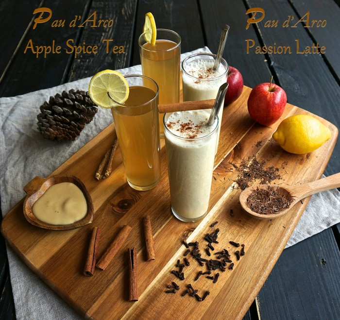 Pau d'Arco Apple Spice Tea and Pau D'Arco Passion Latte - raw vegan