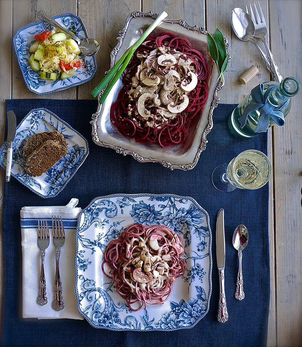 Fermented Beet Pasta with Creamy Sage Mushroom Gravy - raw vegan