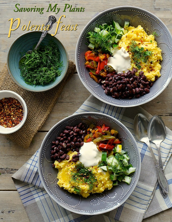 Savoring My Plants Cooked Polenta Feast - vegan
