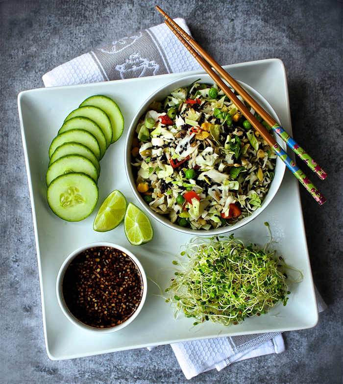 Asian Coleslaw with Crispy Forbidden Rice and Sweet Ginger Dressing
