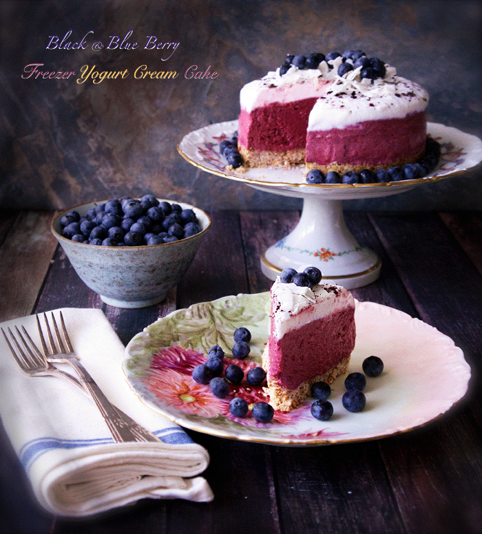 Black and Blue Berry Freezer Yogurt Cream Cake - delicious dairy/gluten/nut-free raw cake - no ice cream maker needed