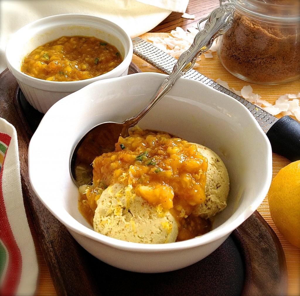 Spiced Golden Vanilla Ice Cream with Sweet Mango Chutney