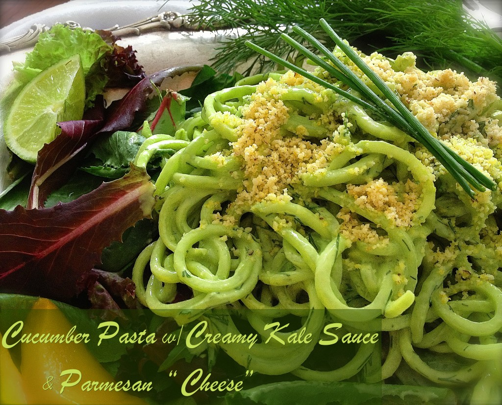 "Cucumber Pasta with Creamy Kale Sauce and Parmesan ""Cheese"""