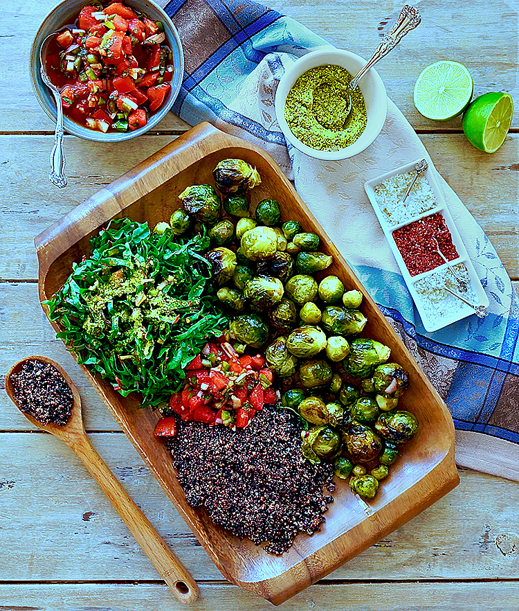 Black Quinoa with Roasted Brussels Sprouts and Tomato Mint Chutney
